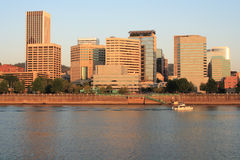 Portland Oregon Skyline in the early morning. Downtown Portland Oregon in the early morning showing river and skyline Royalty Free Stock Images