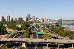 Portland Oregon Skyline with Freeway Stock Images