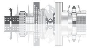 Portland Oregon Skyline Grayscale Vector Illustration Stock Photography