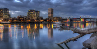 Portland Oregon Skyline with Morrison Bridge Royalty Free Stock Images