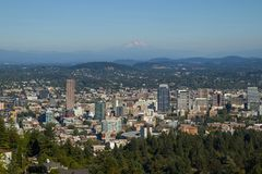 Portland, Oregon skyline with Mt. Hood in the background. Portland, Oregon skyline with Mount Hood in the background, taken from the overlook at Pittock Mansion stock photo