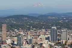 Portland, Oregon skyline with Mt. Hood in the background. Portland, Oregon skyline with Mount Hood in the background, taken from the overlook at Pittock Mansion stock image