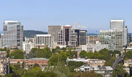 Portland Oregon skyline with Mt. Hood. Portland Oregon downtown skyline and Mt. Hood royalty free stock images