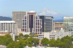 Portland Oregon skyline with Mt. Hood. stock image
