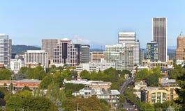 Portland Oregon skyline with Mt. Hood. Portland Oregon downtown skyline and Mt. Hood royalty free stock photo