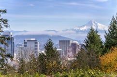 Portland Oregon skyline and Mt. Hood. Portland Oregon skyline fog and Mt. Hood stock photo