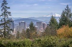 Portland Oregon skyline and Mt. Hood. Portland Oregon skyline plants trees and Mt. Hood stock image