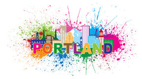 Portland Oregon Skyline Paint Splatter Vector Illustration Royalty Free Stock Images