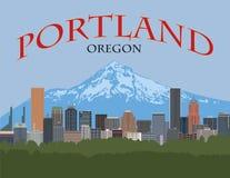 Portland Oregon Skyline Poster vector Illustration. Portland Oregon city downtown skyline with Mount Hood color poster vector illustration royalty free illustration