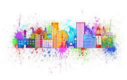 Portland Oregon Skyline Splatter Color Illustration. Portland Oregon Outline Silhouette with City Skyline Downtown Panorama Paint Splatter Color Isolated on Royalty Free Stock Photography