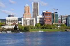 Portland Oregon skyline, in Spring. Royalty Free Stock Photography