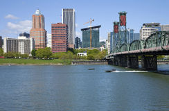 Portland Oregon skyline, in Spring. Stock Photos