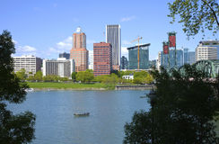 Portland Oregon skyline, in Spring. Royalty Free Stock Photo