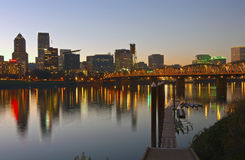 Portland Oregon skyline at sunset. Royalty Free Stock Photo