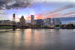 Portland Oregon Skyline at Sunset Royalty Free Stock Photo