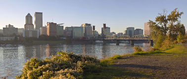 Portland Oregon skyline at sunset. Stock Photo