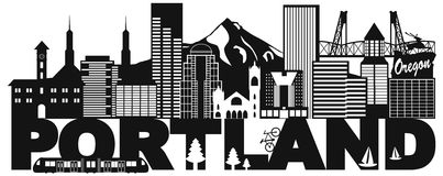 Portland Oregon Skyline and Text Black and White  Illustration. Portland Oregon Outline Silhouette with City Skyline Downtown Panorama and Text Black Isolated on Royalty Free Stock Photo