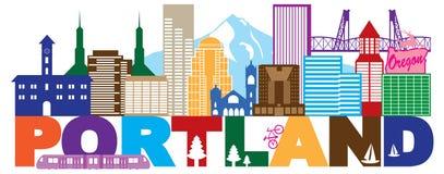 Portland Oregon Skyline and Text Color vector Illustration