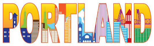 Portland Oregon Skyline Text Outline Color Vector  Stock Photo