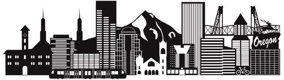 Portland Oregon Skyline Transportation Vector Illustration Royalty Free Stock Images