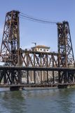 Portland Oregon Steel Bridge with Blue Sky stock photography