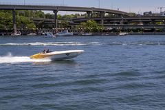 Portland Oregon Summer Boating on Willamette River on a sunny day.  stock photo