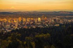 Portland Oregon Sunset Vista Royalty Free Stock Photos
