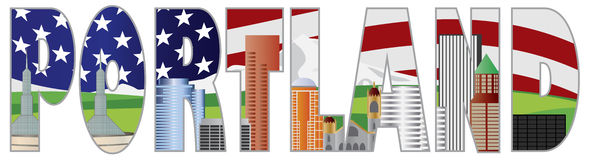 Portland Oregon Text Outline with City Skyline. Portland Oregon Text Outline Silhouette with City Skyline Downtown with US American Flag Background Illustration stock illustration