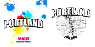 Portland, Oregon, two logo artworks. Portland, Oregon, logo design. Two in one vector arts. Big logo with vintage letters with nice colored background and one