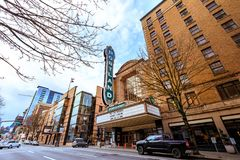 The iconic Portland sign of Arlene Schnitzer Concert Hall in dow. Portland, Oregon, United States - Dec 19, 2017:  The iconic Portland sign of Arlene Schnitzer Stock Images
