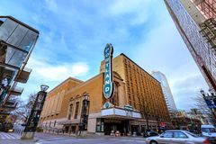 The iconic Portland sign of Arlene Schnitzer Concert Hall in dow. Portland, Oregon, United States - Dec 19, 2017:  The iconic Portland sign of Arlene Schnitzer Stock Photography