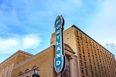 The iconic Portland sign of Arlene Schnitzer Concert Hall in dow. Portland, Oregon, United States - Dec 19, 2017:  The iconic Portland sign of Arlene Schnitzer Stock Photos