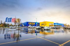 IKEA Home Furnishings Store. Located in Cascades Pkwy, Portland. Portland, Oregon, United States - Dec 20, 2017 : IKEA Home Furnishings Store. Located in Royalty Free Stock Photography