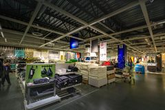 Interior of large IKEA Portland Home Furnishings store. Portland, Oregon, United States - Dec 20, 2017 : Interior of large IKEA store with a wide range of Royalty Free Stock Photos