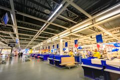 Interior of large IKEA Portland Home Furnishings store. Portland, Oregon, United States - Dec 20, 2017 : Interior of large IKEA store with a wide range of Stock Photography