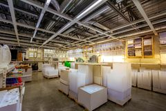 Interior of large IKEA Portland Home Furnishings store. Portland, Oregon, United States - Dec 20, 2017 : Interior of large IKEA store with a wide range of Stock Photo