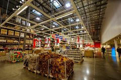 Interior of large IKEA Portland Home Furnishings store. Portland, Oregon, United States - Dec 20, 2017 : Interior of large IKEA store with a wide range of Stock Photos
