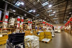 Interior of large IKEA Portland Home Furnishings store. Portland, Oregon, United States - Dec 20, 2017 : Interior of large IKEA store with a wide range of Royalty Free Stock Photography
