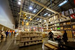 Interior of large IKEA Portland Home Furnishings store. Portland, Oregon, United States - Dec 20, 2017 : Interior of large IKEA store with a wide range of Royalty Free Stock Photo