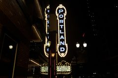 The Portland sign on the Arlene Schnitzer Concert Hall. Portland, Oregon, United States - Dec 23, 2017 : The Portland sign on the Arlene Schnitzer Concert Hall royalty free stock images