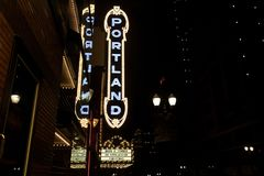 The Portland sign on the Arlene Schnitzer Concert Hall. Portland, Oregon, United States - Dec 23, 2017 : The Portland sign on the Arlene Schnitzer Concert Hall stock photos