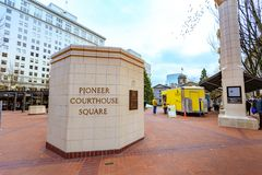 Sign of Pioneer Courthouse Square at winter season. Portland, Oregon, United States - Dec 19, 2017: Sign of Pioneer Courthouse Square at winter season Royalty Free Stock Images