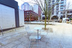 View of Directors Park in downtown Portland, Oregon. Portland, Oregon, United States - Dec 22, 2017 : View of Directors Park is one of the many downtown Portland stock photos