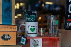 Portland Souvenir Products at Made In Oregon shop at Pioneer Place, Shopping Mall. Portland, Oregon, USA - April 27, 2018 : Portland Souvenir Products at Made In stock photo