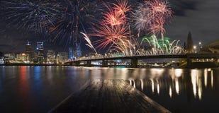 Portland Oregon, USA Fireworks. Royalty Free Stock Photo