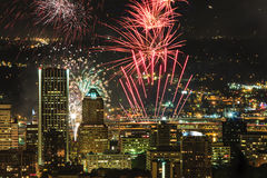 Portland Oregon, USA Fireworks. Royalty Free Stock Photo