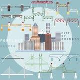 Portland ,Oregon,USA flat illustration of business center. Portland ,Oregon,USA flat design illustration of business center and set of bridges vector illustration