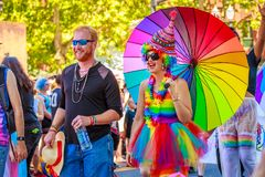 Portland Pride Parade 2018. Portland, Oregon, USA - June 17, 2018: Portland's 2018 Pride Parade reflects the community diversity stock photos