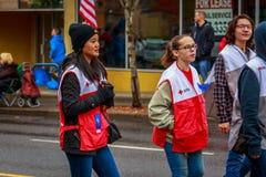 Veterans Day Parade 2017. Portland, Oregon, USA - November 11, 2017: The annual Ross Hollywood Chapel Veterans Day Parade, in northeast Portland stock photo
