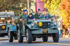 Veterans Day Parade 2018. Portland, Oregon, USA - November 12, 2018: The annual Ross Hollywood Chapel Veterans Day Parade, in northeast Portland stock image